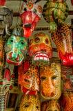 Mayan wooden masks guatemala market Royalty Free Stock Photos