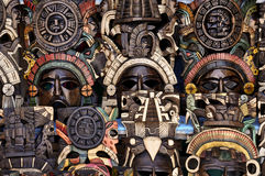 Mayan Wooden Masks for Sale Stock Images