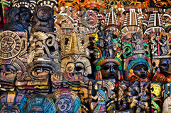 Mayan Wooden Masks for Sale Stock Photo