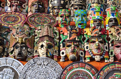 Mayan Wooden Masks Royalty Free Stock Photos