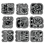 Mayan writing system, Maya glyphs and languge  design. Mayan hieroglyphic script black design isolated on white Royalty Free Stock Images