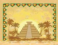 Mayapyramide, Chichen-Itza, Mexiko - abstrakter Hintergrund des Schmutzes Lizenzfreie Stockbilder