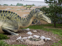 Mayasaura dinosaur. Model of the dinosaur in its natural size Stock Images