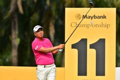 Maybank Championship 2019. Kuala Lumpur - March 21: Wei Chih Lu of Taiwan, watch his tee, during Round 1 of Maybank Championship 2019, at Saujana Golf & Country royalty free stock images