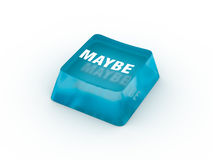 Maybe on keyboard button. Maybe on computer keyboard button. 3D illustration Royalty Free Stock Photography