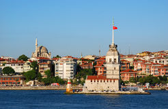 Mayden (Maiden) Tower in Istanbul. The Maiden's Tower, also known in the ancient Greek and medieval Byzantine periods as Leandros Tower, sits on a small islet Stock Images