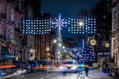 Mayfair in Christmas evening, London Stock Image
