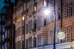 Mayfair in Christmas evening, London Royalty Free Stock Image