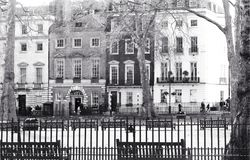 Mayfair, London, UK. January 28 2018 The view across Berkeley Square to Annabel`s Famous Celebrity Nightclub stock photo