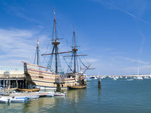 Mayflower II. Recreation of the original Mayflower ship docked at Plymouth Harbor, Plymouth, Massachusetts Stock Images