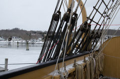Mayflower II at Mystic Seaport, Connecticut, USA. The historic Mayflower II arrived at Mystic Seaport on December 14, 2014. The ship is owned by Plimoth Stock Photos