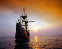 Mayflower II replica. At sunset, Massachusetts stock photography