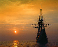 Mayflower II replica at deep red sunset, Massachusetts royalty free stock photography