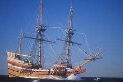 Mayflower II Replica on sea, Massachusetts Stock Images