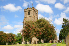Mayflower Tree in Old English Churchyard. The mayflower blossoms on a lovely spring day in an English Churchyard royalty free stock photo