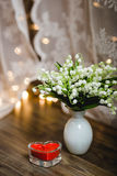 Mayflowers spring white bouquet Stock Image