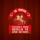 19 mayis阿塔图尔克` u Anma Genclik ve Spor Bayrami 皇族释放例证