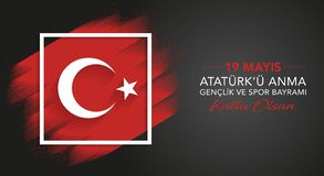 19 Mayis Ataturk 'u Anma Genclik VE Spor Bayrami, 19 pueden conmemoración del día de Ataturk, de la juventud y de los deportes, d stock de ilustración