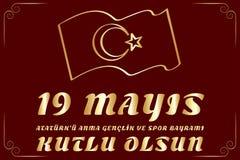 19 mayis Ataturk 'u Anma, Genclik VE Spor Bayrami, tradução: 19 podem comemoração do dia de Ataturk, de juventude e de esportes, ilustração stock