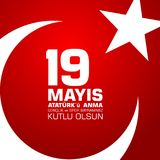 19 mayis Ataturk-` u anma, genclik VE-spor bayrami Übersetzung vom Türkischen: 19. kann von Ataturk, Jugend und trägt Tag zur Sch Lizenzfreie Stockbilder