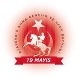 19 mayis Ataturk`u Anma Genclik ve Spor Bayrami. 19 mayis Ataturk`u Anma, Genclik ve Spor Bayrami greeting card design. 19 May Commemoration of Ataturk, Youth Stock Photography