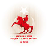 19 mayis Ataturk`u Anma Genclik ve Spor Bayrami. 19 mayis Ataturk`u Anma, Genclik ve Spor Bayrami greeting card design. 19 may Commemoration of Ataturk, Youth stock illustration