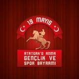 19 mayis Ataturk`u Anma Genclik ve Spor Bayrami. 19 mayis Ataturk`u Anma, Genclik ve Spor Bayrami greeting card design. 19 may Commemoration of Ataturk, Youth Royalty Free Stock Photos