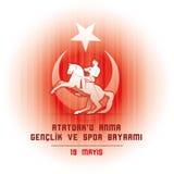 19 mayis Ataturk`u Anma Genclik ve Spor Bayrami. 19 mayis Ataturk`u Anma, Genclik ve Spor Bayrami greeting card design. 19 may Commemoration of Ataturk, Youth Stock Photos