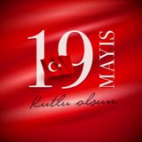 19 mayis Ataturk`u Anma Genclik ve Spor Bayrami. 19 mayis Ataturk`u Anma, Genclik ve Spor Bayrami greeting card design. 19 May Commemoration of Ataturk, Youth royalty free illustration