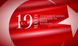 19 mayis Ataturk ` u Anma Genclik ve Spor Bayrami ilustracja wektor