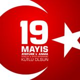 19 mayis Ataturk ` u anma, genclik ve spor bayrami Przekład od tureckiego: 19th może Ataturk i bawi się dzień, młodość Fotografia Royalty Free