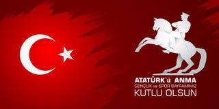 19 mayis Ataturk ` u anma, genclik ve spor bayrami Przekład od tureckiego: 19th może Ataturk i bawi się dzień, młodość Obrazy Royalty Free