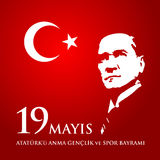 19 mayis Ataturk`u anma, genclik ve spor bayrami. Translation: 19th may commemoration of Ataturk, youth and sports day. 19 mayis Ataturk`u anma, genclik ve spor Royalty Free Stock Photos