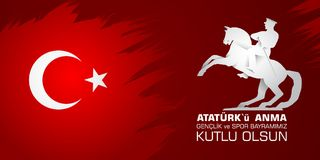 19 mayis Ataturk`u anma, genclik ve spor bayrami. Translation from turkish: 19th may of Ataturk, youth and sports day. 19 mayis Ataturk`u anma, genclik ve spor Royalty Free Stock Images