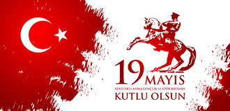 19 mayis Ataturk`u anma, genclik ve spor bayrami. Translation from turkish: 19th may commemoration of Ataturk, youth and sports day. Turkish holiday greeting Royalty Free Stock Photos