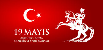19 mayis Ataturk`u anma, genclik ve spor bayrami. Translation from turkish: 19th may commemoration of Ataturk, youth and sports day. Turkish holiday greeting Stock Photos