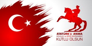 19 mayis Ataturk`u anma, genclik ve spor bayrami. Translation from turkish: 19th may of Ataturk, youth and sports day. 19 mayis Ataturk`u anma, genclik ve spor Stock Image