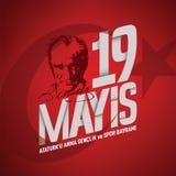 19 mayis Ataturk'u anma, genclik ve spor bayrami vector illustration. 19 may vector royalty free illustration