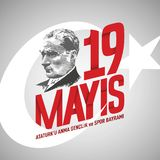 19 mayis vector illustration. 19 May, Commemoration of Ataturk, Youth and Sports Day Turk stock illustration