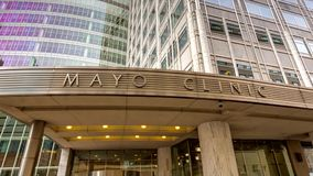 The Mayo Clinic Entrance and Sign stock video