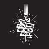 Mayo la bifurcación sea con usted cocina y cocinar el cartel relacionado Ejemplo del vintage del vector libre illustration