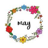 Mayo, vector floral de la guirnalda del mes de la primavera Fotos de archivo libres de regalías