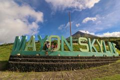 Mayon Skyline View Deck. TABACO ALBAY / PHILIPPINES - DECEMBER 26, 2018: Mayon Skyline View Deck, formerly known as Mayon Rest house, is a recreational area and royalty free stock images