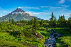 Mayon Vocalno a Legazpi, Filippine Immagine Stock
