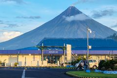 Mayon Vocalno in Legazpi, Philippines. Mayon Volcano or Mount Mayon, is an active stratovolcano in the province of Albay in Bicol Region, on the large island of Royalty Free Stock Image