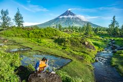 Mayon Vocalno w Legazpi, Filipiny Obrazy Stock