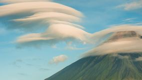 Mayon Volcano with the ventricular of clouds. TimeLapse in sunrise. Active stratovolcano in the province of Albay in. Mayon Volcano is an active stratovolcano in stock video footage
