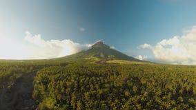 Mayon vulkan nära den Legazpi staden i Filippinerna Flyg- sikt över den gömma i handflatandjungeln och kolonin på solnedgången Ma lager videofilmer