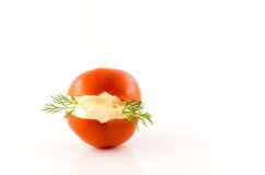 Mayonesa en tomate Fotografía de archivo