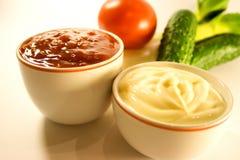 Mayonesa, salsa de tomate y fresco Foto de archivo